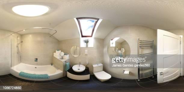 bathroom stylish modern apartment with scottish themes - 全天周パノラマ ストックフォトと画像