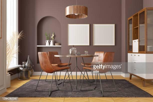 stilvolles modernes esszimmer-interieur - wohngebäude innenansicht stock-fotos und bilder