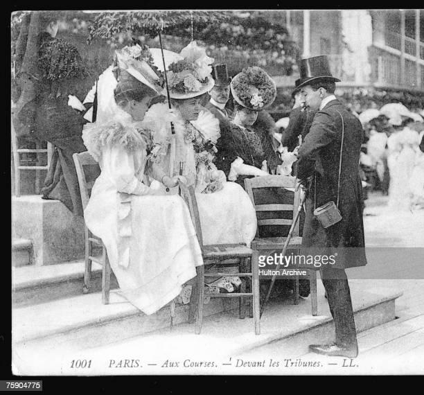 Stylish racegoers at Longchamp racecourse Paris circa 1907