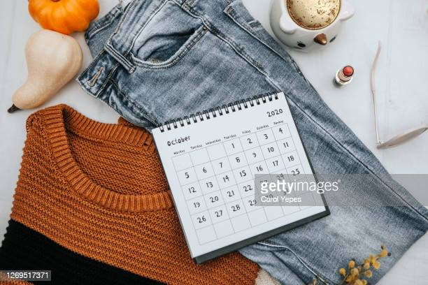 stylish winter fall  flat lay - october stock pictures, royalty-free photos & images