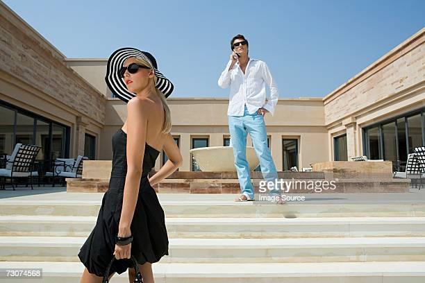 Stylish woman and man