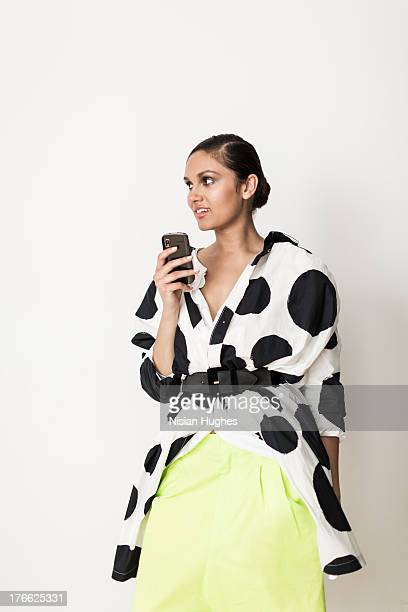 stylish woman on cell phone