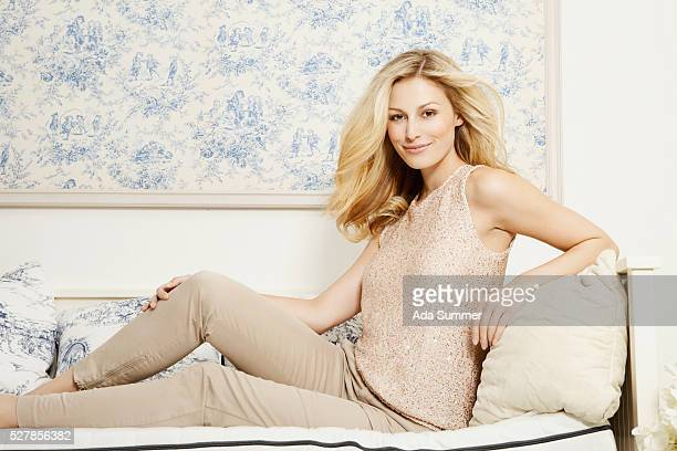 stylish woman on couch