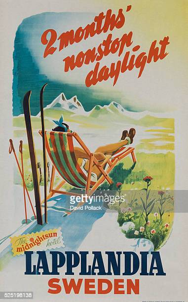 stylish woman sunbathes apres ski in the land of 'nonstop daylight' ca 1950s