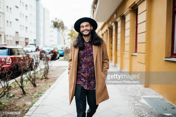 Stylish Young Man On His Way To Meet Friends