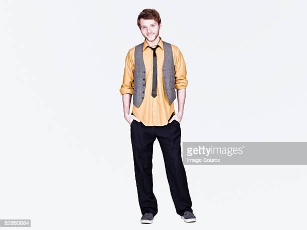 stylish young man - 男性用ベスト ストックフォトと画像