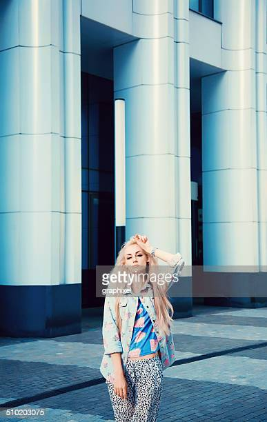 stylish young woman posing outdoors - graphixel stock pictures, royalty-free photos & images