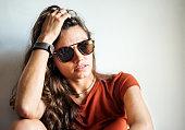 portrait stylish young woman wearing sunglasses
