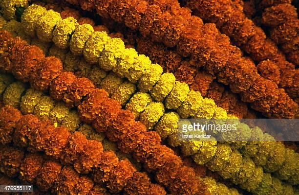 Stylishly arranged flower necklaces