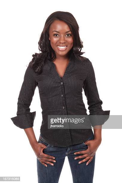 stylishly casual young woman - open collar stock photos and pictures