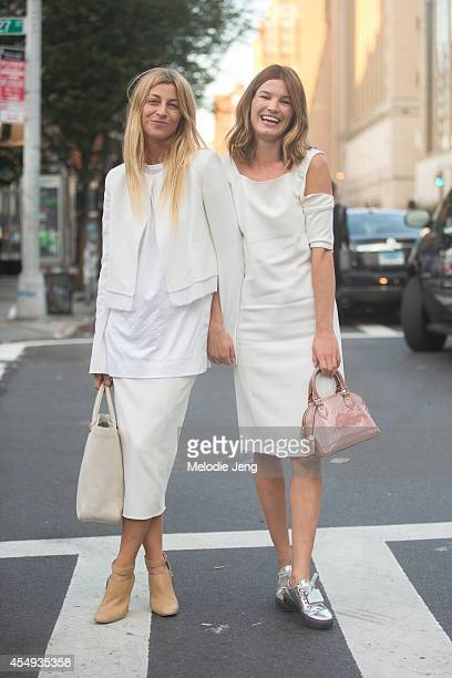 Stylist Ada Kokosar and Photographer/Blogger Hanneli Mustaparta pose after Edun on Day 4 of New York Fashion Week Spring/Summer 2015 on September 7...
