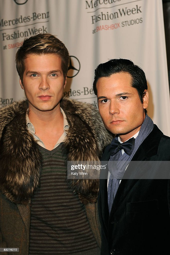 Stylist Alan McCune (L) and columnist Darren Bettencourt attend the Spring 2009 Mercedes-Benz Fashion Week held at Smashbox Studios on October 14, 2008 in Culver City, California.