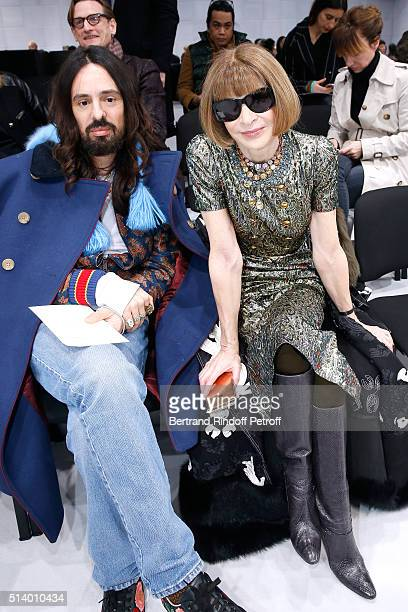 Stylist Alessandro Michele and Journalist Anna Wintour attend the Balenciaga show as part of the Paris Fashion Week Womenswear Fall/Winter 2016/2017...