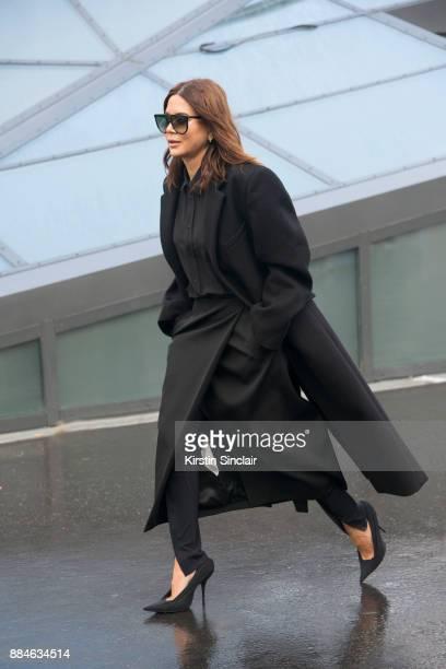 Stylist and fashio director at Vogue Australia Christine Centenera wears Balenciaga shoes day 5 of Paris Womens Fashion Week Spring/Summer 2018 on...