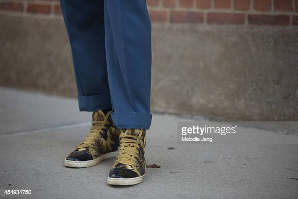 Stylist and Grandpa Style founder Ashley Owens wear a HVRMINN jacket vintage pants Lanvin mens sneakers and a Stetson hat after Edun on Day 4 of New...