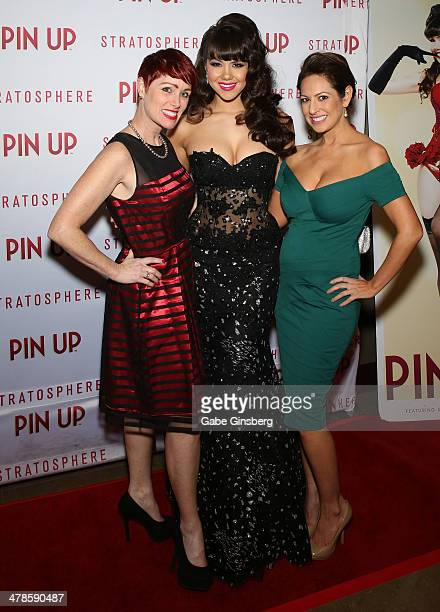 Stylist Andeen Rose model Claire Sinclair and make up artist Didi Perez arrive at the anniversary celebration of the show 'Pin Up' at the...