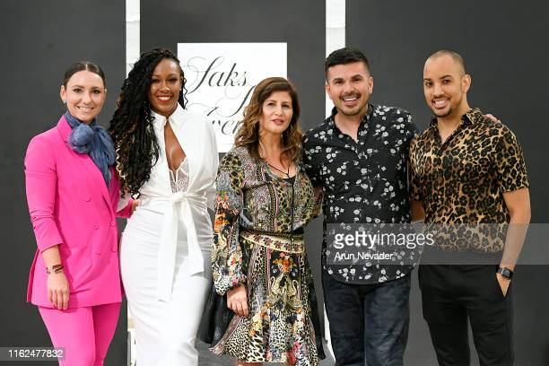 Stylist Anna Ruiz, Adrienne Fleming, Romona Messore, Erik Rosete, and Noel Valentine pose on the runway at Miami Swim Week Powered By Art Hearts...