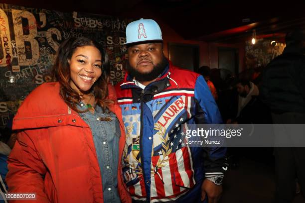 Stylist Ashley Campbell and recording artist Fred The Godson backstage at S.O.B.'s on February 25, 2020 in New York City.