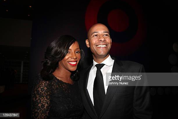 Stylist author and designer June Ambrose and husband Marc Chamblin attend Harlem's Fashion Row at Jazz at Lincoln Center on September 16 2011 in New...