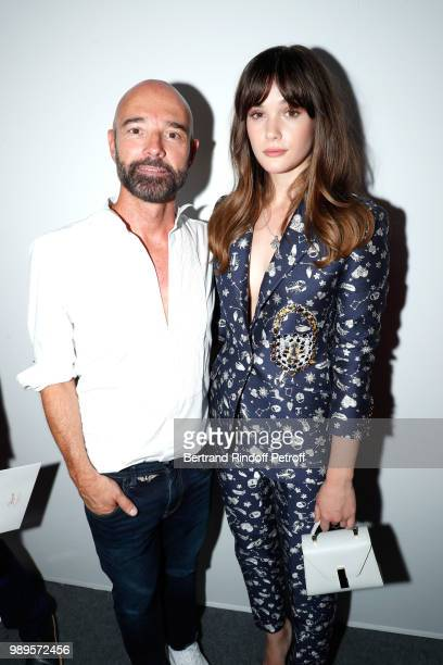 Stylist Bertrand Guyon and Sai Bennett pose after the Schiaparelli Haute Couture Fall Winter 2018/2019 show as part of Paris Fashion Week on July 2...