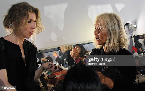 Stylist BokHee prepares a model backstage with SheaMoisture at Tracy Reese S/S 2016 during New York Fashion Week at Art Beam on September 13 2015 in...