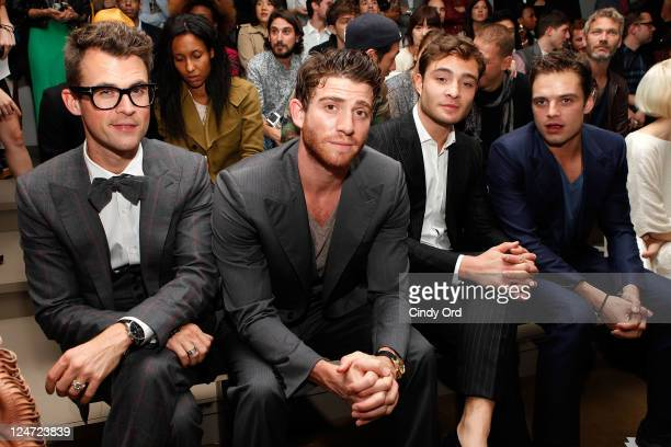 Stylist Brad Goerski and actors Bryan Greenberg and Ed Westwick attend the Simon Spurr Spring 2012 fashion show during MercedesBenz Fashion Week at...