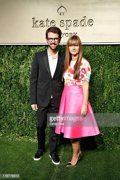 Stylist Brad Goreski and President and Creative Director of Kate Spade Deborah Lloyd pose for a photo at the Kate Spade New York presentation during...