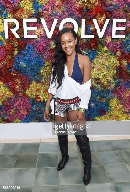 Stylist Brittany Hampton attends the #REVOLVEfestival at Coachella with Moet Chandon on April 16 2017 in La Quinta CA Merv Griffin Estate