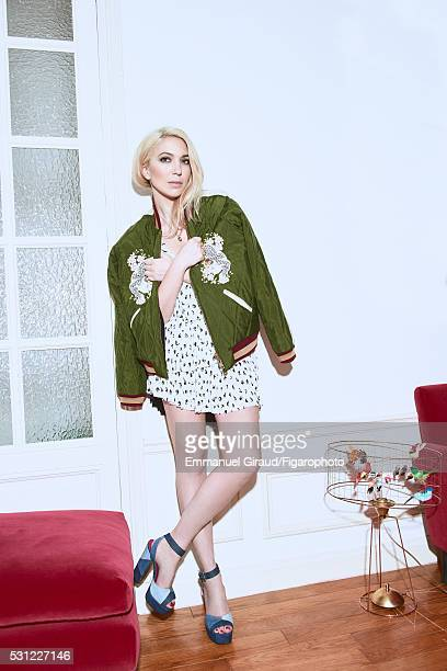 Stylist Camille Seydoux is photographed for Madame Figaro on February 12 2016 in Paris France Jacket dress necklace ring shoes PUBLISHED IMAGE CREDIT...