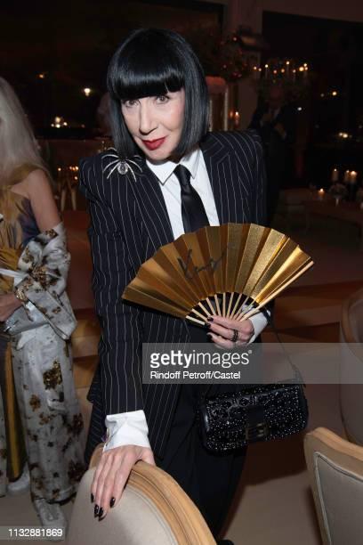 Stylist Chantal Thomas attends the 80th Kenzo Takada Birthday Party at Pavillon Ledoyen on February 28, 2019 in Paris, France.