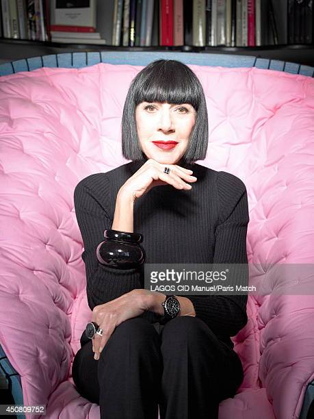 Stylist Chantal Thomass is photographed for Paris Match sitting in a Feltri armchair by Gaetano Pesce on May 16 2014 in ParisFrance