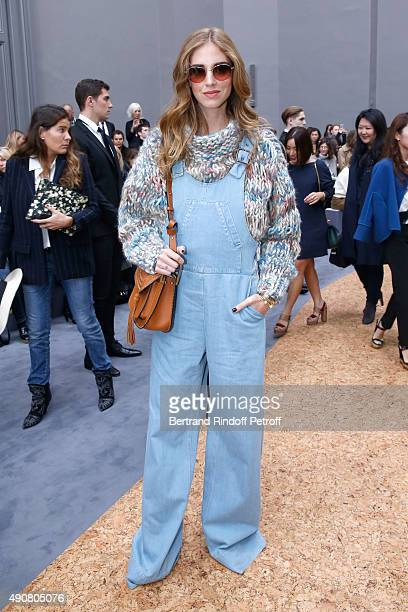 Stylist Chiara Ferragni attends the Chloe show as part of the Paris Fashion Week Womenswear Spring/Summer 2016 Held at Grand Palais on October 1 2015...