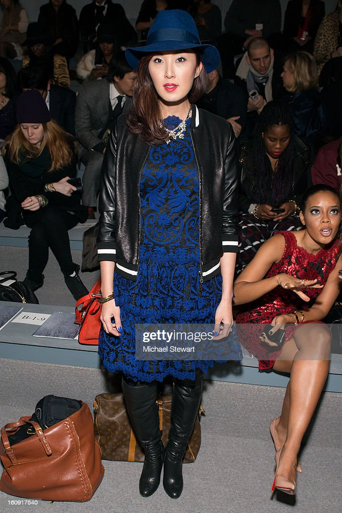 Stylist Chriselle Lim attends Tadashi Shoji during Fall 2013 Mercedes-Benz Fashion Week at The Stage at Lincoln Center on February 7, 2013 in New York City.
