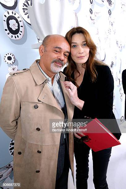 Stylist Christian Louboutin and Singer Carla Bruni Sarkozy attend the Schiaparelli Haute Couture Spring Summer 2016 show as part of Paris Fashion...