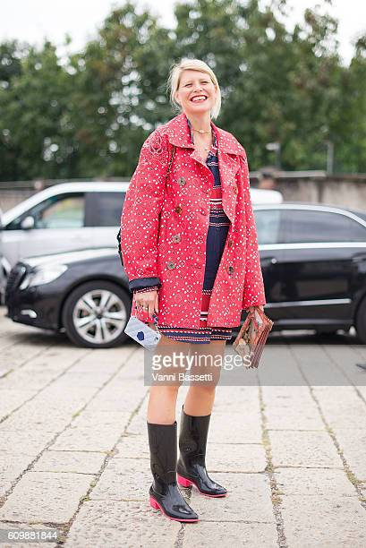 Stylist Elisa Nalin poses before the Gucci show during Milan Fashion Week Spring/Summer 2017 on September 21 2016 in Milan Italy