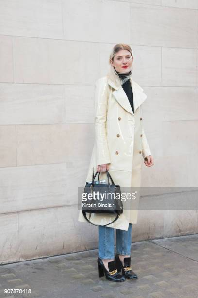 Stylist Fashion Editor at ES Magazine Jenny Kennedy wears a Mulberry coat and shoes Uniqlo jumper Prada bag and Balenciaga jeans day 2 of London Mens...