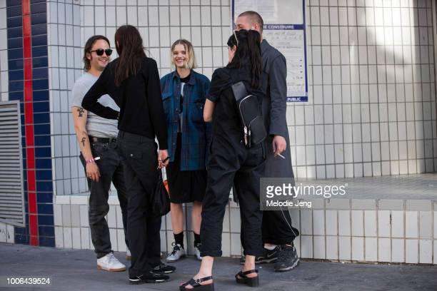 Stylist Felix Leblhuber and model Stella Lucia Deopito after the Alyx show during Paris Fashion Week Mens Spring/Summer 2019 on June 24 2018 in Paris...