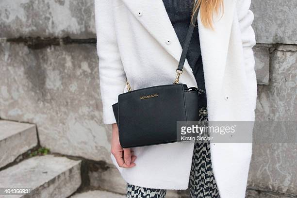 Stylist for Irish TV Clementine Macnerce wears a Michael Kors bag Shine trousers Autograph by Marks and Spencers coat and sweater day 2 of Paris...