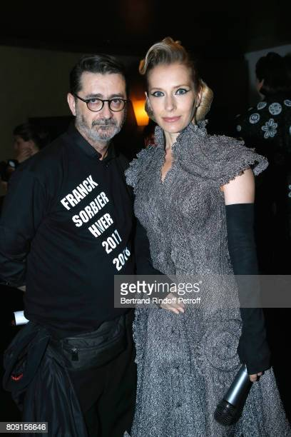Stylist Franck Sorbier and actress Ophelia Kolb attend the Franck Sorbier Haute Couture Fall/Winter 2017-2018 show as part of Haute Couture Paris...