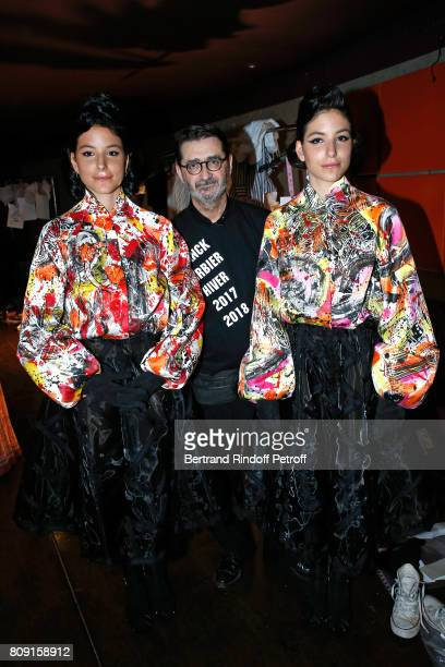 Stylist Franck Sorbier standing between Singer Lio's twins Garance and Lea attend the Franck Sorbier Haute Couture Fall/Winter 20172018 show as part...
