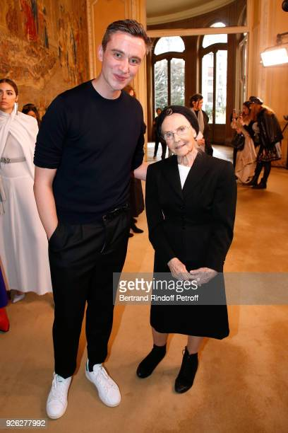 Stylist Guillaume Henry and Catherine RobbeGrillet pose after the Nina Ricci show as part of the Paris Fashion Week Womenswear Fall/Winter 2018/2019...