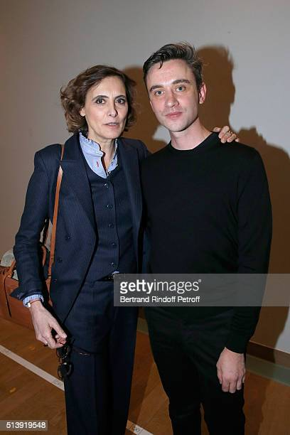 Stylist Guillaume Henry and Ines de la Fressange pose Backstage after the Nina Ricci show as part of the Paris Fashion Week Womenswear Fall/Winter...