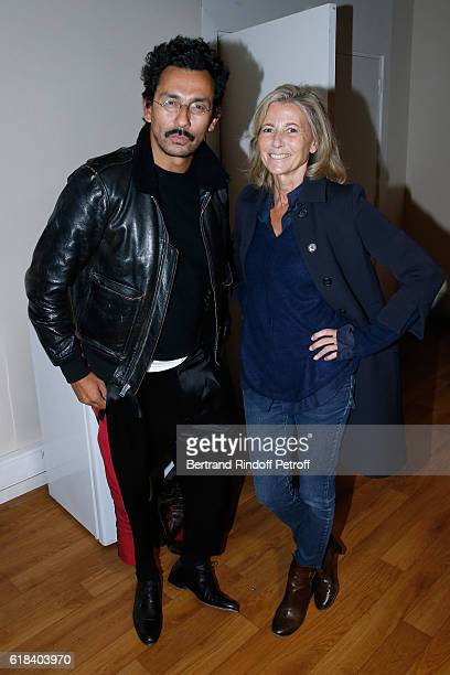 Stylist Haider Ackermann and journalist Claire Chazal attend Arielle Dombasle performs for the release of the Album 'La Riviere Atlantique' 'Noche de...