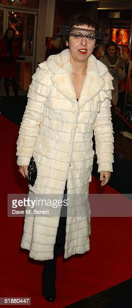 Stylist Isabella Blow arrives at the UK Premiere of The Aviator at the Odeon West End on December 19 2004 in London