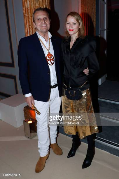 Stylist JeanCharles De Castelbajac and Pauline De Drouas attend the 80th Kenzo Takada Birthday Party at Pavillon Ledoyen on February 28 2019 in Paris...