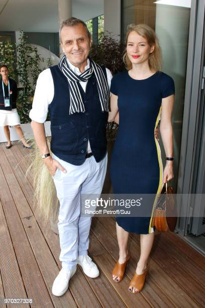 Stylist JeanCharles de Castelbajac and Pauline de Drouas attend the Women Final of the 2018 French Open Day Fourteen at Roland Garros on June 9 2018...