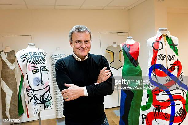 Stylist JeanCharles de Castelbajac is photographed for Paris Match at his office Quai de Jemmapes on December 2 2013 in ParisFrance