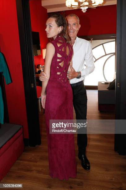Stylist JeanClaude Jitrois and Alice Aufray pose Backstage before 'The Aspern' photocall during the 75th Venice Film Festival on August 30 2018 in...