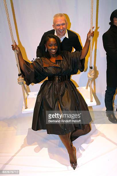 Stylist JeanPaul Gaultier and Aissa Maiga pose after the Jean Paul Gaultier Haute Couture Spring Summer 2017 show as part of Paris Fashion Week on...