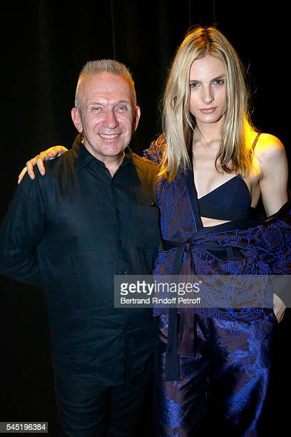 Stylist JeanPaul Gaultier and Andreja Pejic pose after the Jean Paul Gaultier Haute Couture Fall/Winter 20162017 show as part of Paris Fashion Week...